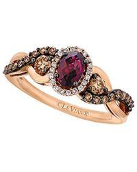 Le Vian - ? Chocolatier? 14k Rose Gold 1.10 Ct. Tw. White & Brown Diamond & Rhodolite Ring - Lyst