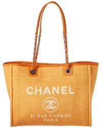 Chanel - Orange Denim Deauville Tote - Lyst