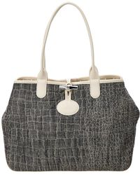 d2ec02774383 Lyst - Longchamp Roseau Double Jeu Canvas   Leather Tote in Gray ...