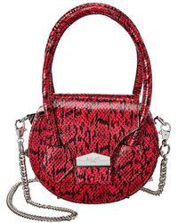 SALAR MILANO Mimi Snake-embossed Leather Shoulder Bag - Pink