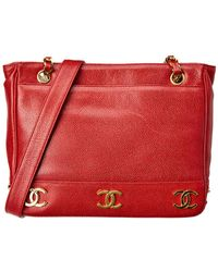 Chanel - Red Caviar Leather Medium Cc Tote - Lyst