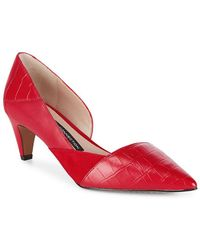 French Connection - Tessi Red Konelli Mixed Media Pointed Toe D'Orsay Court Shoes - Lyst