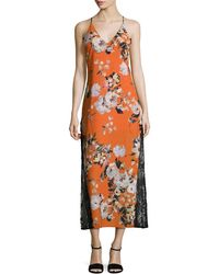 ABS By Allen Schwartz - Floral Printed Tea Length Dress - Lyst