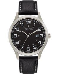 Bulova - Leather Watch - Lyst