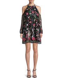Belle By Badgley Mischka - Cold-shoulder Embroidery Dress - Lyst