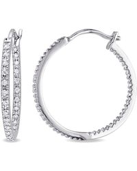 Rina Limor - Fine Jewelry Silver 0.25 Ct. Tw. Diamond Hoops - Lyst