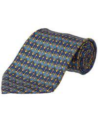 Hermès - Navy, Blue, Yellow Silk Tie - Lyst