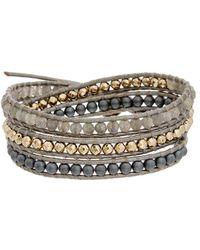 Chan Luu - Silver Leather Gemstone Wrap Bracelet - Lyst