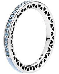 PANDORA - Silver & Light Blue Crystal Radiant Hearts Ring - Lyst