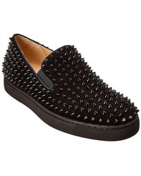 28674290a69 Christian Louboutin - Roller-boat Veau Velours spikes Black Veau Velours -  Lyst