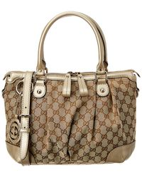 726a374cc11 Gucci - Brown GG Canvas   Gold Leather Sukey Bag - Lyst