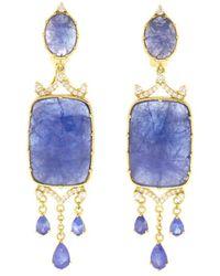 Judith Ripka - Allegria 18k 62.84 Ct. Tw. Diamond & Tanzanite Chandelier Earrings - Lyst