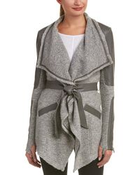 Blanc and Noir - Draped Silk- And Leather-trim Wool-blend Cardigan - Lyst