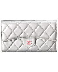 Chanel - Silver Quilted Lambskin Leather Flap Wallet - Lyst