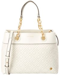 b4afb9625d2a Lyst - Tory Burch Fleming Birch Leather Quilted Satchel Bag in Natural