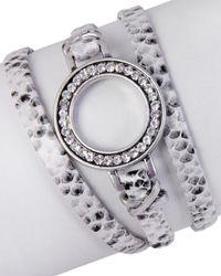 Saachi - Crystal & Leather Wrap Bracelet - Lyst