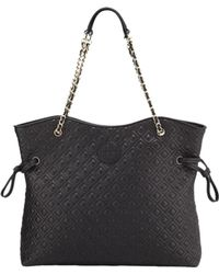 e5f5c056fb6 Tory Burch Marion Quilted Patent Slouchy Tote in Black - Lyst