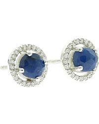 Adornia - Echo Blue Sapphire & Diamond Halo Earrings - 0.38 Ctw - Lyst