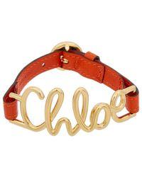 Chloé - Leather Logo Bracelet - Lyst