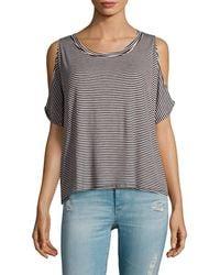 Project Social T - Cold-shoulder Stripe T-shirt - Lyst