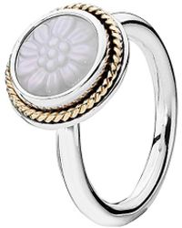 PANDORA - Daisy Signet 14k & Silver Mother-of-pearl Ring - Lyst