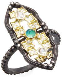 Armenta - Old World 18k, Malachite, Moonstone & 0.20 Ct. Tw. Diamond Petite Scalloped Shield Stack Ring - Lyst