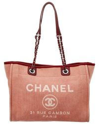 Chanel - Red Denim Large Deauville Tote - Lyst