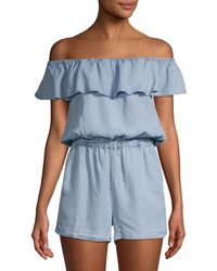 74965b917e47 Free People Blossoming Chambray Playsuit in Blue - Lyst