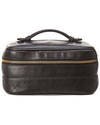 Chanel - Black Lambskin Leather Horizontal Cosmetic Case - Lyst