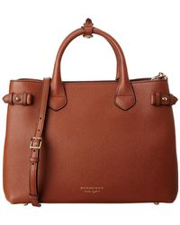 Lyst - Burberry Banner Medium House Check   Leather Tote in Black ec80c979fc