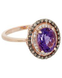 Effy - Fine Jewelry 14k Rose Gold 1.82 Ct. Tw. Diamond & Amethyst Ring - Lyst