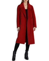 Badgley Mischka - Mid Length Double Breasted Wool Coat - Lyst