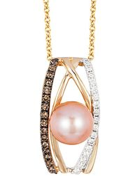 Le Vian - Chocolatier® Pink Freshwater Pearl (8mm) And Diamond (1/4 Ct. T.w.) Pendant Necklace In 14k White, Yellow And Rose Gold - Lyst