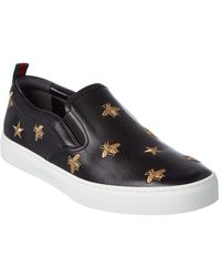 Gucci - Dublin Bee Leather Slip-on Trainer - Lyst