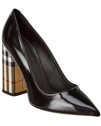 Burberry - Patent Leather And Vintage Check Block-heel Pumps - Lyst