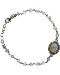 Adornia - Fine Jewellery Silver 3.20 Ct. Tw. Labradorite & Diamond Adjustable Bracelet - Lyst