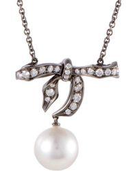 Mikimoto - 18k & Rhodium 0.57 Ct. Tw. Diamond & 10-11mm Pearl Bow Necklace - Lyst