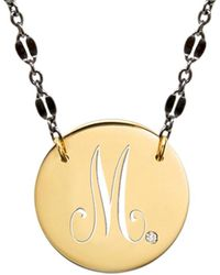 Jane Basch - 14k Over Silver Diamond Monogram Script Disc Necklace (a-z) - Lyst