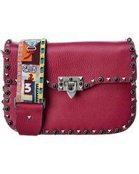 Valentino - Rockstud Rolling Noir Leather Shoulder Bag - Lyst