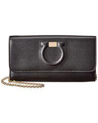 Ferragamo Gancio City Leather Wallet On Chain