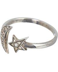 Adornia - Fine Jewelry Rhodium Plated Silver 0.20 Ct. Tw. Diamond Moon & Star Celestial Ring - Lyst