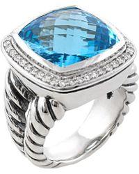 David Yurman - David Yurman Albion Silver 13.35 Ct. Tw. Diamond & Blue Topaz Ring - Lyst