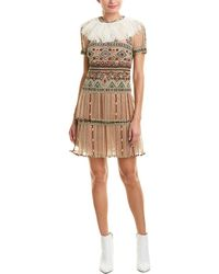 Valentino - Embroidered A-line Dress With Silk-blend Lining - Lyst