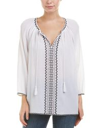 NYDJ - Embroidered Gauze Blouse - Lyst
