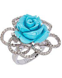 Le Vian ? Silver 10.80 Ct. Tw. Gemstone Flower Ring