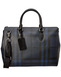 Burberry - Large London Check Leather Briefcase - Lyst