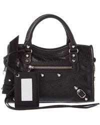 Balenciaga - Classic Silver City Mini Leather Shoulder Bag - Lyst