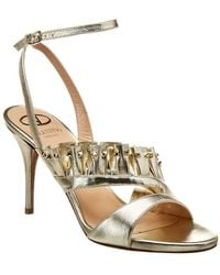 232f7db562c Lyst - Valentino Rockstud Leather Sandal in Black - Save 0.125%