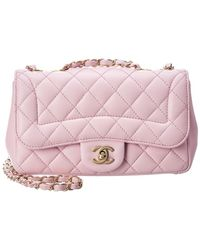 Chanel - Pink Quilted Lambskin Leather Mademoiselle Chic Small Flap Bag - Lyst