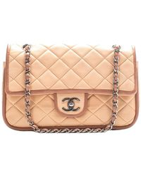 Chanel | Beige Quilted Lambskin Leather Contrast Trim Medium Double Flap Bag | Lyst